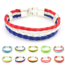 Flag Color Bracelet Surfer Leather Bracelets World Cup National Soccer Fan Flags Bangles France Russia Spain Bracelet  Y4