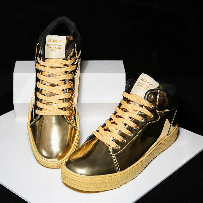 BomKinta Gold Silver Black Leather Casual Shoes Men Bling High Top Big Size  Couple Shoes Lace 925c34b336ea