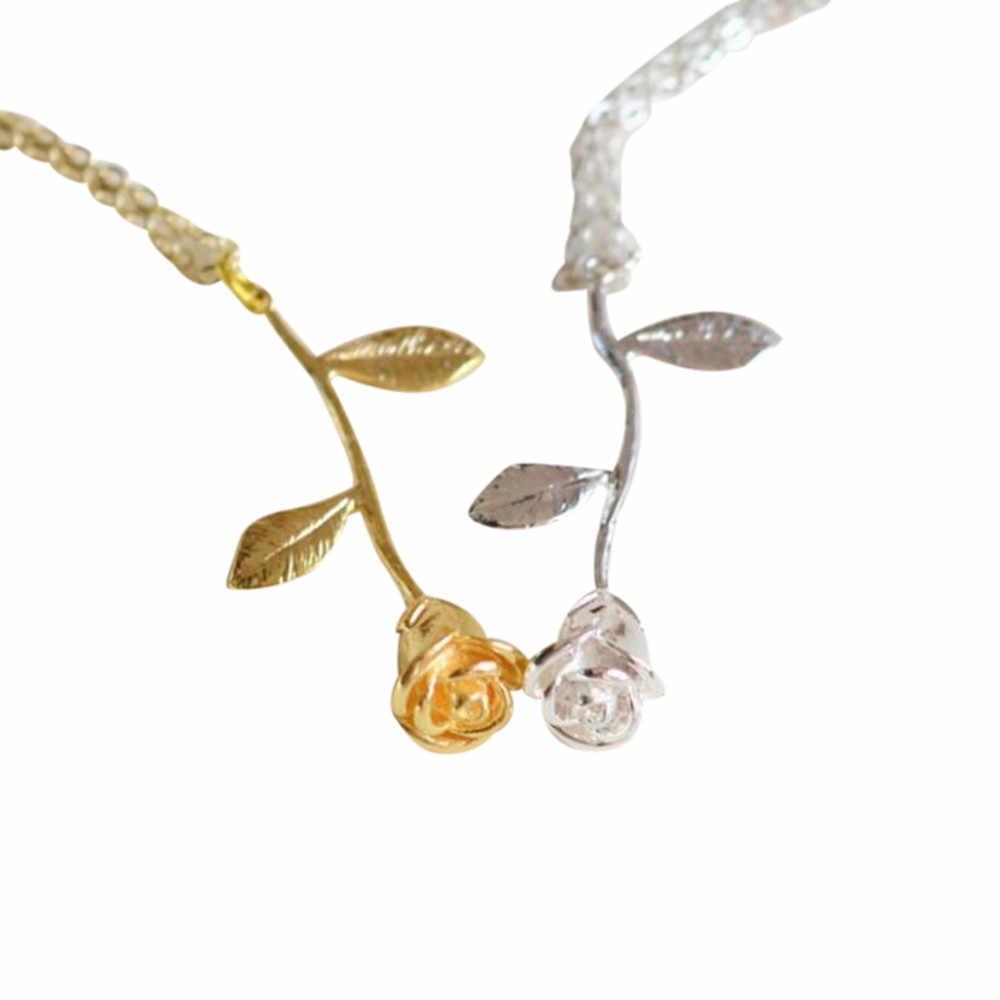 Bijoux Femme Collier Gold Silver Color Rose Flower Pendant Statement  Necklaces Women Maxi Choker Boho Jewelry a2841ac97d6f