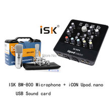 Promotion Original ISK BM-800 +usb sound card nano professional recording microphone condenser mic for studio and broadcasting(China)