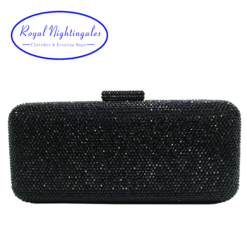 Luxury Crystal Rhinestone Evening Clutch Bags for Bridal Prom Evening Party Crystal Box Clutch Black Evening Bag<br>