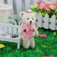 Mobile charm accessory jointed teddy bear girls toys bouquets flower bear material mini model plush&stuff promotional gift bear(China)