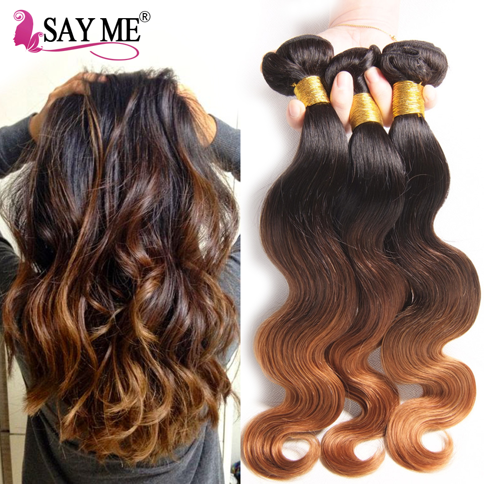 8A Ombre Brazilian Virgin Hair Extensions 1B/4/30# Three Tone Ombre Brazilian Body Wave Unprocessed Human Hair Weaves 4 Bundles<br><br>Aliexpress