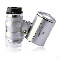 Latest Fancy 60x Handheld Magnifying Glass Mini Pocket Microscope Loupe Jeweler Magnifier With LED Light 92TV(China)