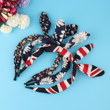 2016 2017 New Cute Korean Women Girls Floral Flowers Fabric Bow Knot Hairband Bunny Rabbit Ears Hair Hoop Hair Band Accessories