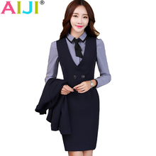 Buy AIJI Autumn women OL fashion elegant one-piece dresses woman's v-neck work wear slim office business formal plus size clothing for $54.36 in AliExpress store