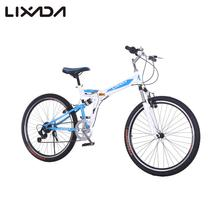 Lixada 26 inches Folding Bicycles Portable Carbon Steel 7 Speed Double Shock Absorption Mountain Bike Double V Brakes Bicycle