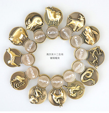 Free Shipping 1 set 12 pcs China gift Chinese Zodiac Magnetic Golf Ball Markers w Golf Zodiac Hat Clip , Chinese elements