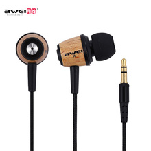 AWEI Q9 Earphones Super Bass Stereo in Ear 3.5mm Fone De Ouvido Wood Style In Ear MP3 Music Earphone for Xiaomi Mobile Phone