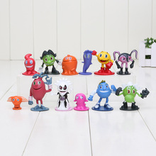 12pcs/set New Pixels Moive Pac-Man Ghostly Adventures PVC Action Figure Pac Man Model Hot Toy