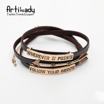 Artilady 3 rows with metal pu leather bracelet follow your heart letters bangles for women jewelry party gift