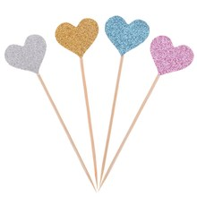40PCS Custom Handmade Princess Pink/Blue Heart Wedding Cupcake Toppers Baby Girls Birthday Party Decoration,Dessert fruit Topper