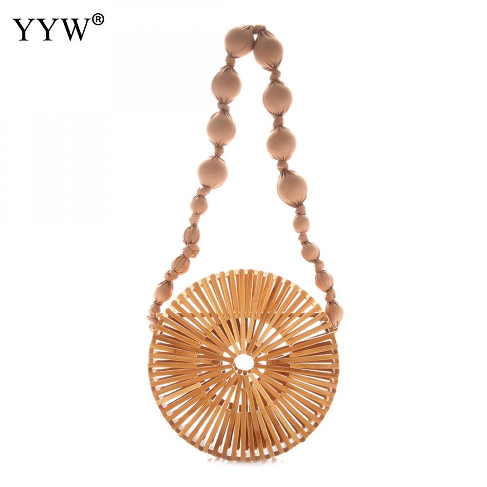 Luxury Designer Round Bamboo Summer Beach Shoulder Bag Women Fashion Hollow Straw Bag Travel Clutch Lady Tote Crossbody Bag   <br>
