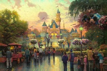 Disneyland 50th Anniversary Thomas Kinkade HD Canvas Print Living Room Bedroom Wall Pictures Art Painting Home Decoration(China)