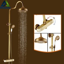 "Buy Temperature Control Brass Antique Dual Handles Thermostatic Shower Faucet Bathroom 8"" Rainfall Shower Panel for $176.29 in AliExpress store"
