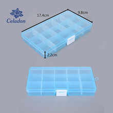 15 Grid Adjustable Transparent 5 Colors Jewelry Storage Box Ring Earring Beads Case Plastic Portable Organizer Box Travel Bins