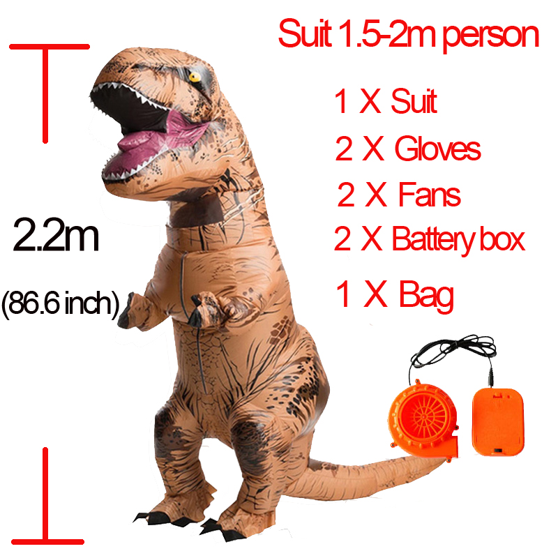 Party Adult t rex Dinosaur Costume Halloween Cosplay Fantasy Inflatable Dinosaur T REX Blowup Halloween Mascot Costume for Women (12)