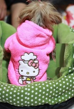 Retailed Hello kitty  Pet dog clothes cute winter rose coat hoody jumper clothing for dogs mascotas roupa para cachorro  XS-XL