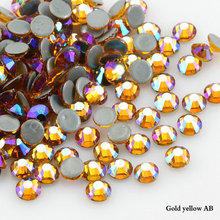 Crystals Stones Iron on FlatBack Gold yellow AB Hot Fix Strass Crystal Hotfix Rhinestones for Clothes(China)