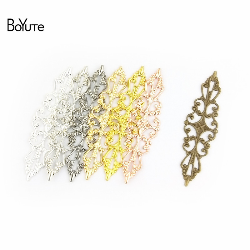 BoYuTe 50 Pcs 1557MM Metal Brass Stamping Filigree Flower Charm Hand Made DIY Charms for Jewelry Making (4)