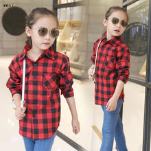 Fashion Spring Autumn Kids Girls Shirts Full Sleeve Plaid Kids Blouse Casual All-Match Cotton Children's Girls Blouses 5-12 Year