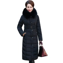2017 Full Zipper Solid Ukraine New Middle - Aged Elderly Long Jacket Warm Winter Coat Thicker Mother Fitted Women Cotton Dress(China)