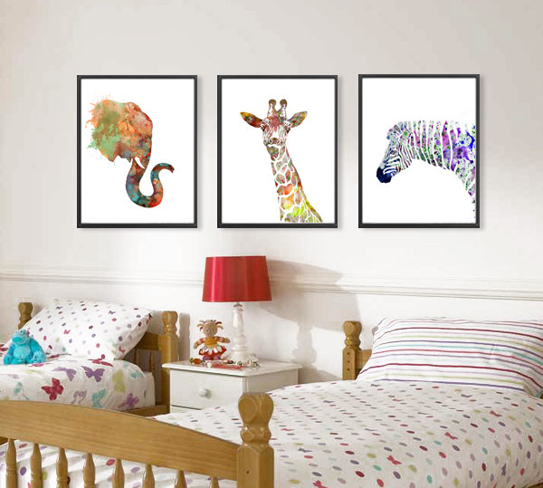 Abstract Elephant Giraffe Zebra watercolor Art Print kids wall decor Home Decor Wall Art Picture Printed Painting On Canvas art(China (Mainland))