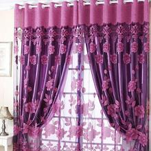 Semi Shade Sheer Rich Flowers Pattern Curtains With Tulle Voile Door Window Curtain Drape Panel New