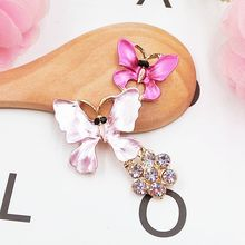 DOWER ME Brand Crystal 5pcs 3D Mobile Phone Decorations Butterfly 3D Alloy Stickers for Phone DIY Decoration(China)