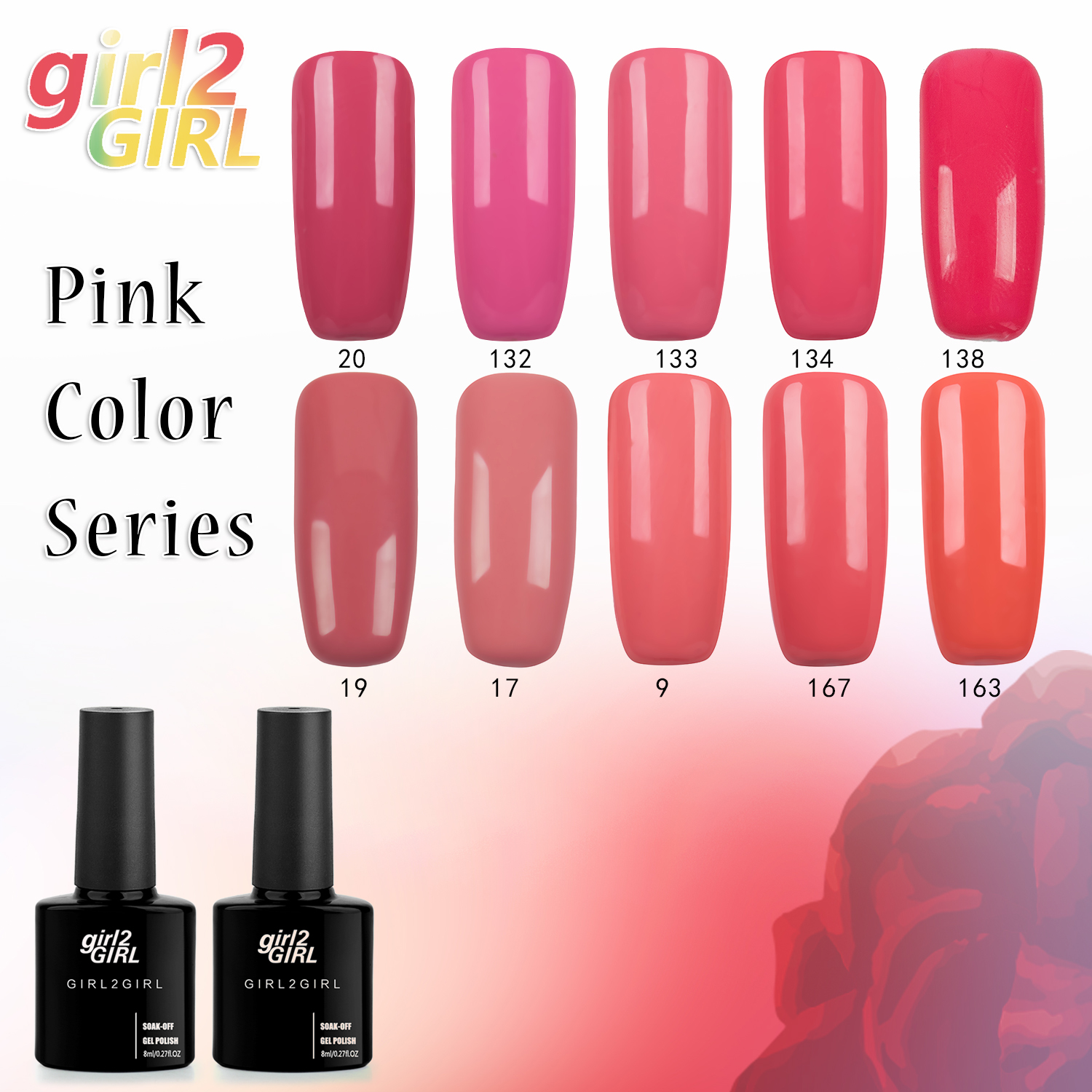 girl2GIRL UV Nail Polish Gel varnish 280 Beauty Colors High Quality Long-lasting 8 ML Soak-off  Pink Set