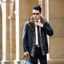 Timmiury Top Quality 2017 Winter Men Solid Pilot Leather Jackets Thick Wool Liner Real Fur Collar Coat Black Plus Size Overcoat