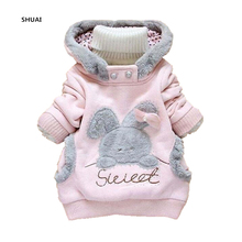 New Cartoon Rabbit Girls Coat Kids Spring Autumn Style Cotton Outerwear Children Lovely Casual Hoody Jacket Clothing