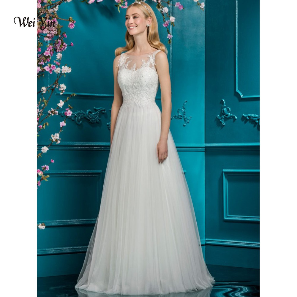 weiyin High Quality Lace Wedding Dresses 2018 Casamento Country Style Designer Sleeveless Bridal Gowns Summer Weddings Dress
