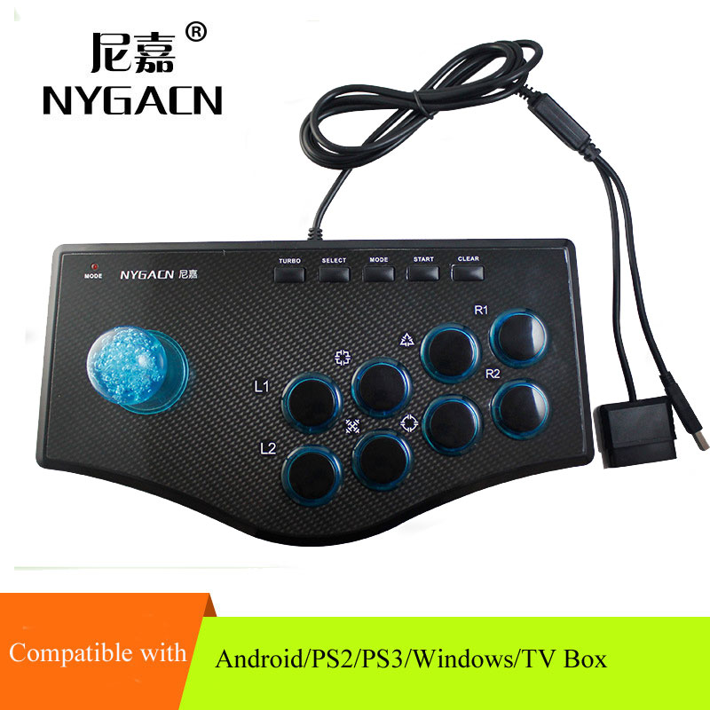 PC-arcade-game-controller-computer-streeting-fighting-gamepad-with-long-8-axis-joystick-and-turbo-function