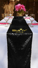 High Quality-Black Sequin Table Runner Black Fabric For Halloween/Event/Banquet/Christmas Decoraitons-More Size Option
