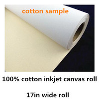 high quality cotton inkjet canvas sample of 2m long  17in roll for print test sample