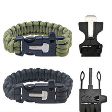 Outdoor Handmade Woven Parachute Rope Survival Bracelet Men With Scraper Whistle Fire Starter Pulseira Masculina Men Jewelry