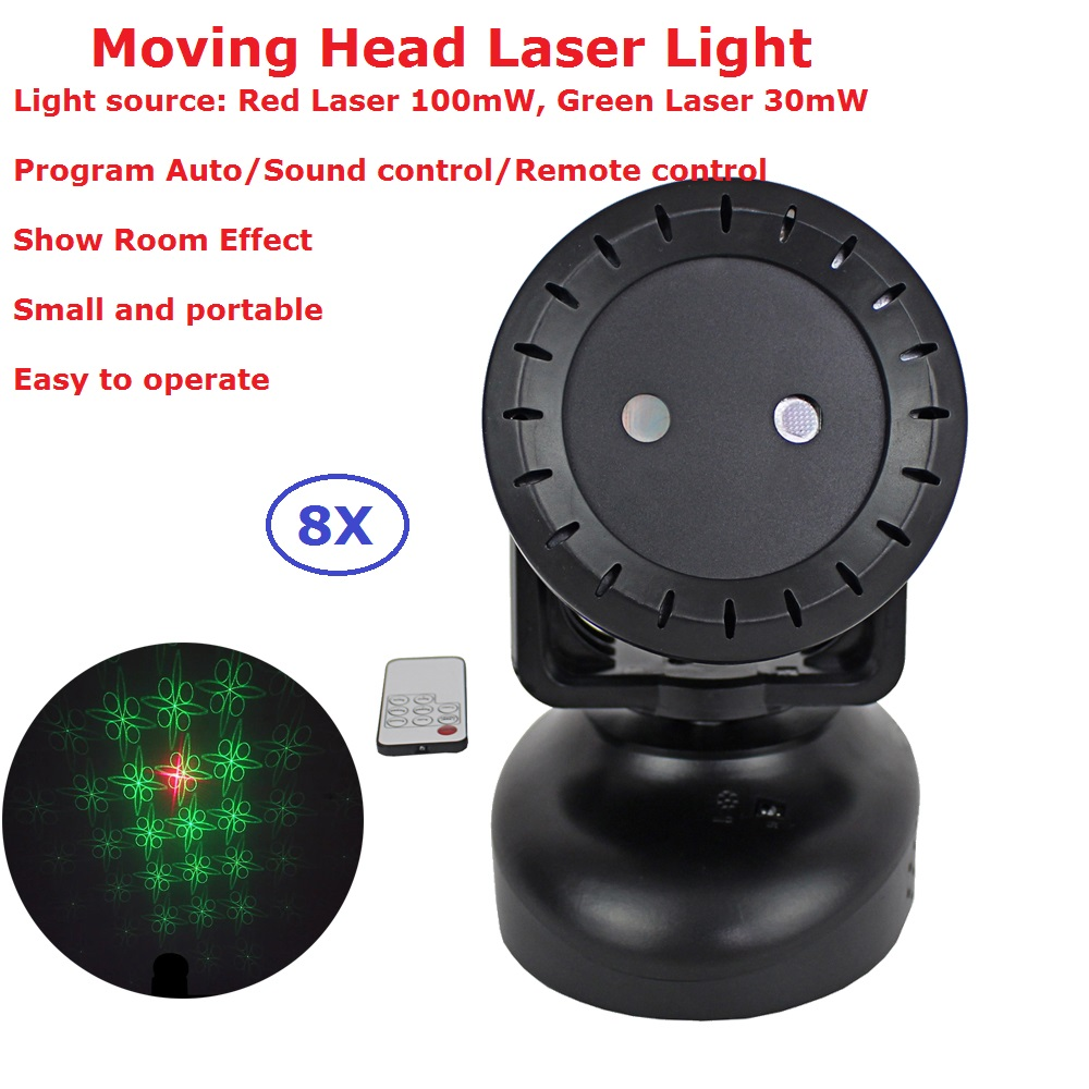 8 Unit Portable New 12W Moving Head Laser Lights 130MW RG TWO Color Mini Sun Stage Laser Lights Remote Control For Dj Disco KTV <br>
