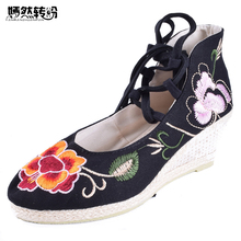 Vintage Women's Pumps National Wedges Shoes Retro Old Peking High Heeled Lace Up Canvas Flower Dance Soft Shoes(China)
