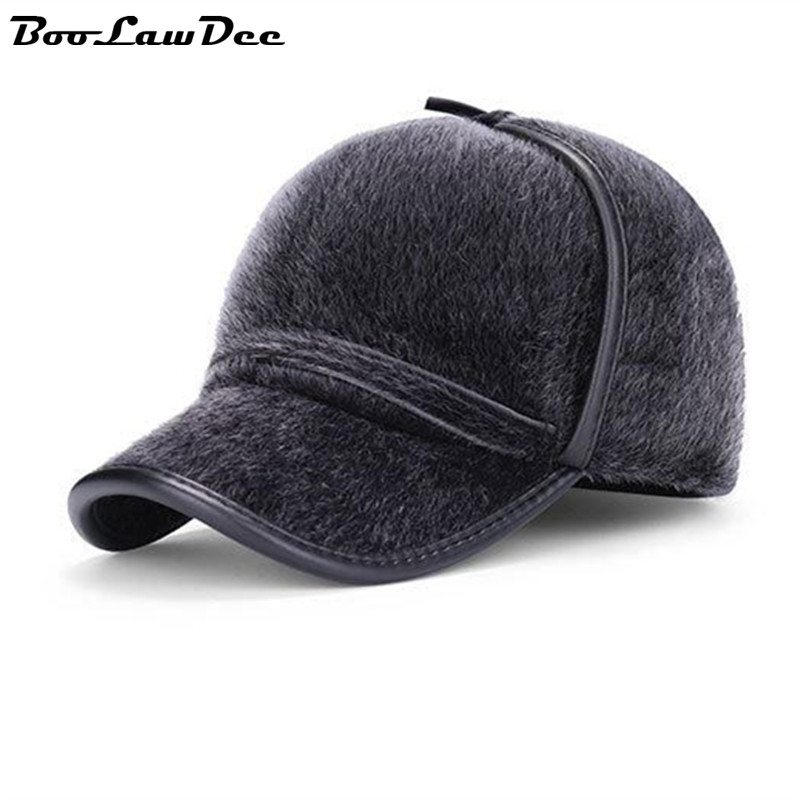 BooLawDee Men winter faux mink hair baseball earcuff cap thickening warming for old adults male black gray 4C010<br><br>Aliexpress