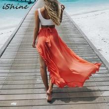 Faldas de mujer verano estilo bohemio volantes cintura elástica blanco  negro verde naranja Sexy alta Raja vacaciones playa falda e89ca199d9b4