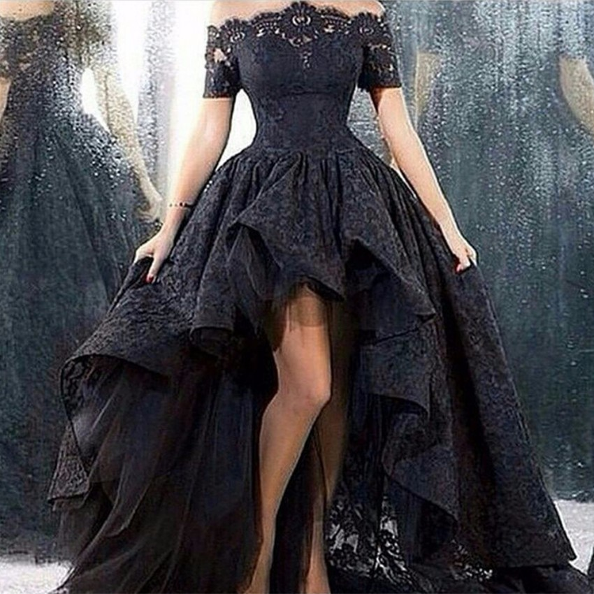 Sexy High Low Black Lace Prom Dresses 2019 See Through Off the Shoulder Short Sleeves Front Short Back Long Evening Party Gowns