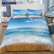 AHSNME Summer Cooling Quilt cover Set Blue Sky Sunshine Beach Wave 3D Effect Bedding Set can photo Customized King Bed Set(China)