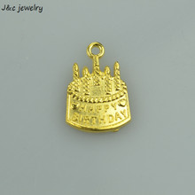 Wholesale 70 pcs fashion gold charms metal Birthday Cake pendants for diy jewelry findings 22*15mm A3421