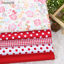40cm*50cm Manual Cloth fabric 5pcs Twill Red flower Cotton Fabric for Patchwork Sewing Telas Tissus Patchwork cushion Cloth(China)