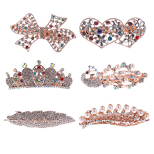 1PC Noble Women Crystal Full Drill Flower Hairpins Hair Clip Heart Bow Leaf Peacock Barrette Hair Band Accessories