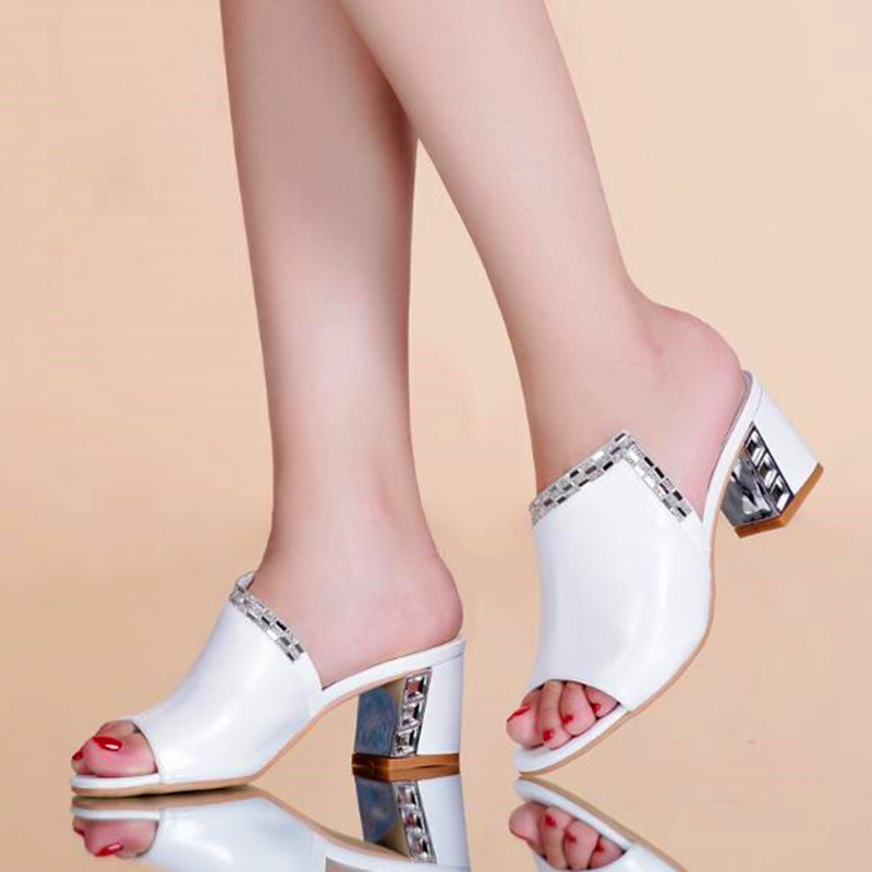 Plus Size Summer Classic Black White Medium Heels Rhinestone Decor Women Genuine Leather Sandals Soft Comfortable Slippers Shoes<br><br>Aliexpress