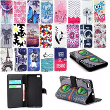 HOT! Colored Painting PU Leather Phone Case for Huawei P8 lite Flip Wallet Stand Soft TPU Cover For Huawei P8lite P8 Lite case