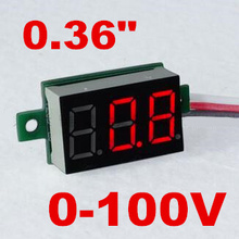 "DC mini 0.36 "" Digital Red LED Display 0-100V Voltmeter 3 Wires Voltage Meter volt tester for car battery test 40% off"