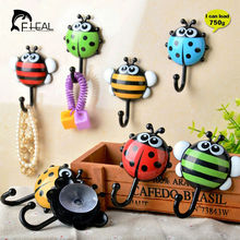 FHEAL 2pcs Creative Ladybug/Bee Cartoon Bathroom Wall Hooks Kitchen/Bedroom Sucker Free Nail Hook Wall Decorative Hooks(China)